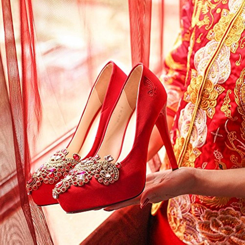 WU Le Scarpe da Sposa Cinesi Rosse Ricamate Si Si Si Vestono Bene Femmina con Diamante Singolo di Cristallo Impermeabile... | Nuovi Prodotti  | Uomo/Donne Scarpa  b00bd0