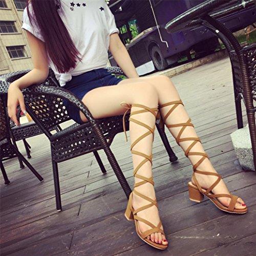 Hot sale! Kaiki Frauen Knie Gladiator Sandale Höhle aus Sommer Open Toe Sandale Wedges Schuhe Khaki