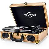 VIFLYKOO Giradischi, Giradischi vintage con 3 velocità 33/45/78 RPM Vinyl Player LP Giradischi incorporato 2 altoparlanti,Jack per cuffie, USB, ingresso AUX, uscita RCA - Legno Naturale