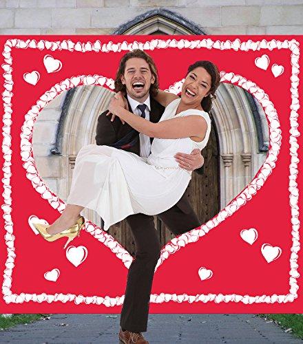 Hochzeitsspiel Hochzeitsherz zum Ausschneiden für das Brautpaar - ROTES Stofflaken mit weißem Herzmotiv & Schlaufen zum Straffhalten INKL. 2 Nagelscheren + Glückwunschkarte + Stift + Hochzeitsbuch GRATIS - PORTOFREI - Hochzeitsspiele und Hochzeitsbräuche - Braut & Bräutigam schneiden das Herz aus und schreiten in die gemeinsame Zukunft