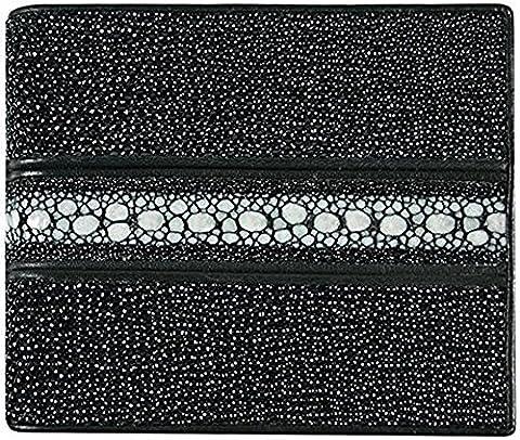 Genuine Stingray Skin Leather Bi-Fold Wallet w/ Left Flap (Line Black)