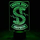 Lampada Da Illusione 3D Luce Notturna A Led Distintivi Riverdale Snake Logo Southside Serpents Decor Sign Cose Riverdale Acce