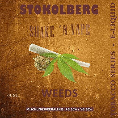 STOKOLBERG Tobacco Series Weeds E-Liquid mit Base shot in 60ml PET Flasche - Alle Sorten ohne Nikotin (Weeds)