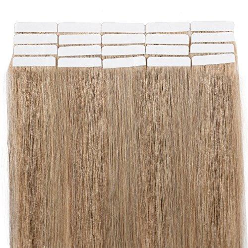 40cm extension capelli veri adesive 20 fasce 50g/set remy human hair tape in lisci umani riutilizzabile seamless, #27 biondo scuro
