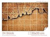 Graz Design 761675_20x20_80 Fliesenaufkleber Baum/Holz-Optik für Kacheln | Wand-Deko für Bad/Küchen-Fliesen (Fliesenmaß: 20x20cm (BxH)//Bild: 120x80cm (BxH))