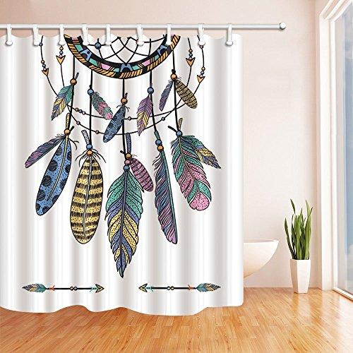 Cortina de ducha con diseño de atrapasueños étnico con plumas, 180 x 180 cm, incluye ganchos para cortinas de ducha, color azul