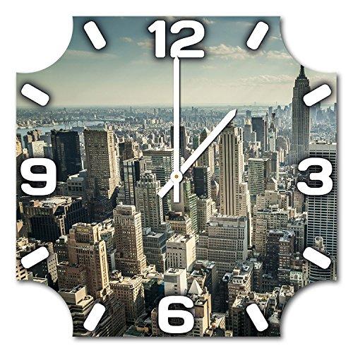 New York City, Design Wanduhr aus Alu Dibond zum Aufhängen, 48 cm Durchmesser, schmale Zeiger, schöne und moderne Wand Dekoration, mit qualitativem Quartz Uhrwerk