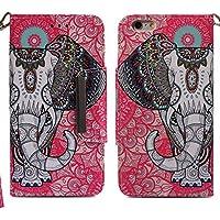 Preisvergleich für Handyhülle iPhone 6S,HUDDU Elefant Muster Rot Schutzhülle iPhone 6S Hülle Flip Leder Tasche Slim Bookstyle Wallet...