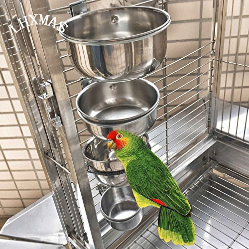 Pinkdose® Original Color, XL: Bird Feeders Parrot Stainless Steel Cups Container with Holder Food Bowl for Macaw African Greys Budgies Parakeet Cockat