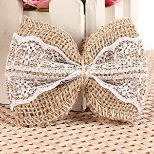 KING DO WAY 10PCS A Set Lace Embellishments Small Shabby Chic Rustic Wedding Craft Jute Bows White