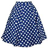 EUDOLAH Damen Kleid kurz Roeck Rockabilly Faltenrock Knielang Stoffdreuck Vintage Sommerrock H1104 Blau Punkt Gr.L