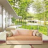 Amazhen Benutzerdefinierte Tapete Fenster Ansichten Bambus Forest Lake Bridge Wand Papier Natürliche Wand Wohnzimmer Landschaft Home Decor,396cm*280cm