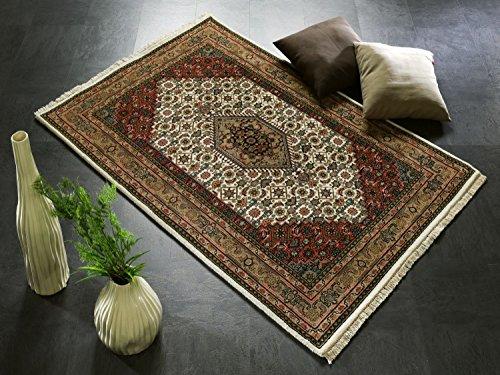 BADOHI BIDJAR echter klassischer Orient-Teppich handgeknüpft in creme-beige, Größe: 80x350 cm