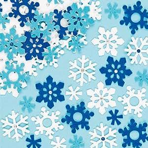 Fiocchi di Neve in Feltro Adesivo per Bambini, per Creazioni Fai Da Te di Natale (confezione da 78)