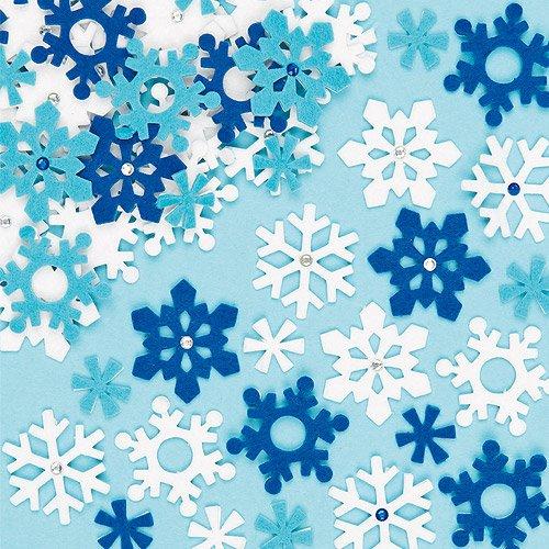 Baker Ross Filz-Schneeflocken-Aufkleber für Kinderhandwerk und Kunstprojekte, Karten, Partytüten und Dekorationen (78er-Pack)