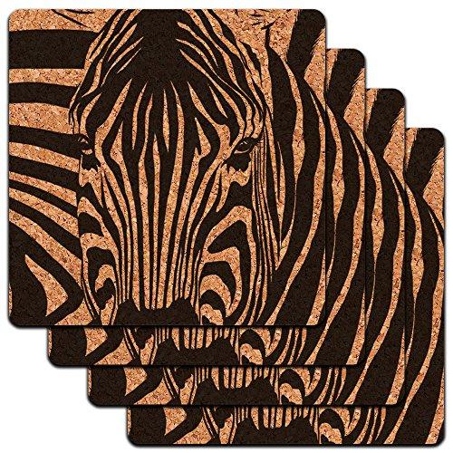 Zebra Face Safari Animal Print Streifen Low Profile Cork Untersetzer Set (Streifen Schiefe)