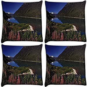 Snoogg Pink Flowers Pack Of 4 Digitally Printed Cushion Cover Pillows 16 X 16 Inch