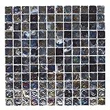 Mosaikfliese aus Glas, Schwarz/Grau