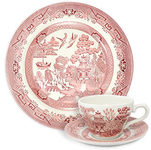 Churchill Pink Willow (Churchill Pink Willow Dinner Plate with Cup and Saucer - 3 Piece Set by Churchill)