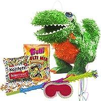PartyMarty Dino Drache Saurier Pinata Set Pinata & Schläger & Maske & Trolli Süßigkeiten-Füllung & Konfetti - für große und Kleine Drachen, Dino, Dinosaurier Fans und Kindergeburstag