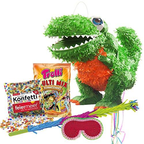 he Saurier Pinata Set Pinata & Schläger & Maske & Trolli Süßigkeiten-Füllung & Konfetti - für große und Kleine Drachen, Dino, Dinosaurier Fans und Kindergeburstag ()