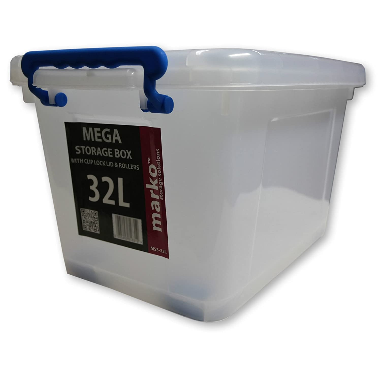Marko Storage Solutions 32L Heavy Duty Strong Plastic Storage Boxes 32 LTR  (Litre) With Wheels U0026 Clip Lids (2 Boxes): Amazon.co.uk: Kitchen U0026 Home