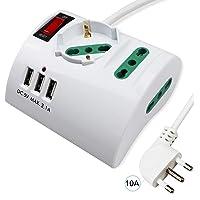 Extrastar Multipresa da Scrivania/Tavolo con 3 Presa USB,Presa con interruttore automatico di protezione 10A,Bianco…