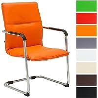 CLP Chaise Cantilever Seattle Similicuir - Chaise Design avec Piétement Luge - Assise et Dossier et Accoudoirs Rembourrés - Confortable et Ergonomique - Couleur :