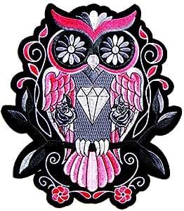 21,6x 24,1cm Big Patch Diamant Rose Motif chouette Rose Punk Rock Hippie Rétro Moto Chopper Biker Lady Rider Hog Outlaw Tatoo arrière arrière Patch Sew Fer Sur brodé