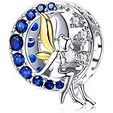 Qings Charm Fatina, in Argento Sterling 925 Charms Fatina Della Luna Blu Charms Ciondolo a Forma di Angelo Compatibile con Br