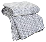 Blue , Twin : Bedford Home Chevron 100Percent Egyptian Cotton Blanket - Twin - Blue