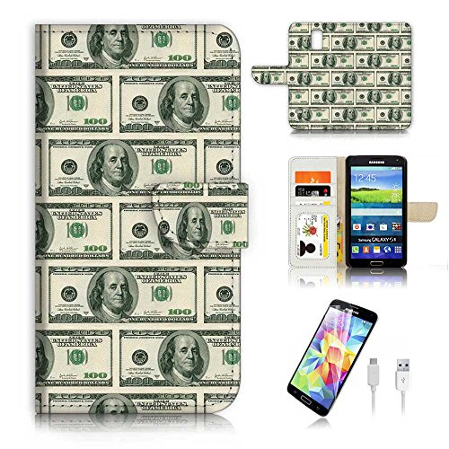 Samsung Galaxy S5 Flip Wallet Schutzhülle & Displayschutzfolie & Ladekabel Bundle. a6079 US Dollar