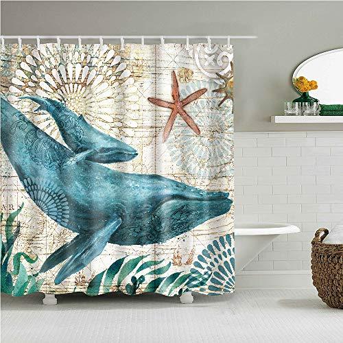 YONG-SHENG Mutter Und Kind Whale Print Polyester Duschvorhang Marine Life Wasserdicht und Mildewproof Gewebe Wohnaccessoires Eingestellt mit Haken 180cm x 180cm(Style 1)
