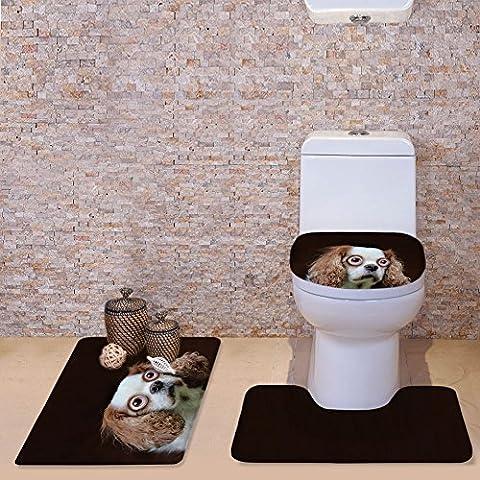 hugsidea Lustige Tiere rutschfest Bad Teppich Set Contour Teppiche Deckel WC-Deckelbezug Badteppich (3Stück), Flanell, Cute Dog, S