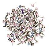 MagiDeal 200 Stück Mini Brads, für Papier, Bastelarbeiten, Scrapbooking - Mischfarbe, 6mm