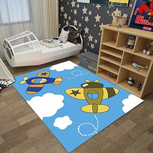 GRENSS Cartoon Kinder Teppich benutzerdefinierte Princess Baby Krabbeln mat Kinder Schlafzimmer und Wohnzimmer und Das Schlafzimmer Maschine chi waschen, 80 * 160 Teilen, Flugzeug