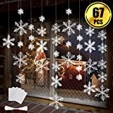 BTNOW 63 Pieces 4 Sizes White Christmas Snowflake Decorations Snowflake Ornaments Garland, 8 Meters White Strings and 60 Pieces Round Double Side Tape for Home Christmas Holiday Party Decorations