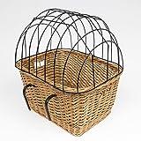 CORVUS Fahrradkorb mit Gitter für Tiere Tierkorb aus Weide Weidenkorb Lenkerkorb Radkorb Weide/Rattan mit Halterungen