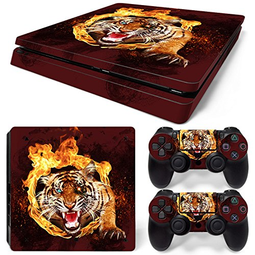 ZoomHit PS4 Slim Playstation 4 Slim Konsolen-Aufkleber Tiger Tier + 2 Controller Skins Set (nur schlank) -