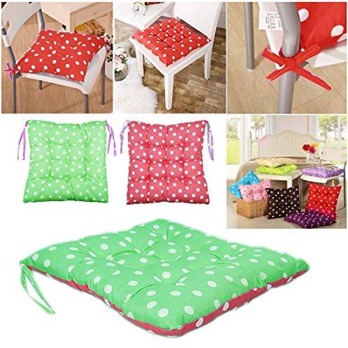 WSS - 2 almohadillas de colores para silla de comedor, jardín, cocina, color rojo y verde con lunares