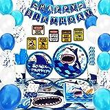 WERNNSAI Tiburón Conjunto de Suministros para la Fiesta - 175 PCS Azul Decoraciones de Fiesta para niños Cumpleaños Bandera Señales Globos Bolsa de Cubiertos Mantel Platos Tazas Servilletas Pajitas