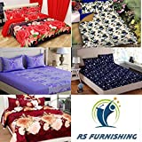 RS Home Furnishing Combo Set Of 5 Glace Cotton Double Bedsheet With 10 Pillow Covers (Multicolour, 90x90 Inches)
