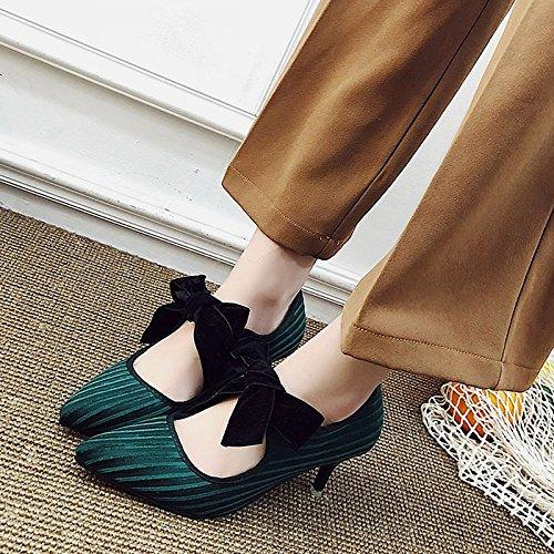 Dimaol Femmes Chaussures Pu Printemps Automne Confort Talons Talon Aiguille Pour L'extérieur Noir Vert Vert