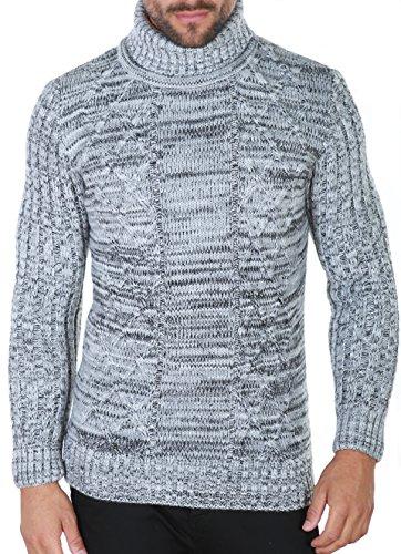 Baumwolle / Cashmere-kapuzen-pullover (Karl's people Herren Strickpullover in verschieden Farben Rollkragenpullover 7489- Gr. M, Grey)