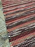 Second Nature Dark Spicy Shades Red Stripe 75cm x 135cm Flickenteppich–HANDGEWEBT in Indien