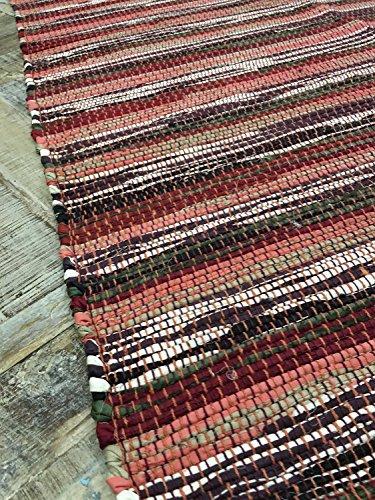 Red Stripe Teppich (Second Nature Dark Spicy Shades Red Stripe 75cm x 135cm Flickenteppich-HANDGEWEBT in Indien)