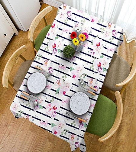 HAIXIA Tischdecke Marineblau und Blush Spring Blumensträuße auf Streifen Orchidee Pfingstrose Bell Blumen Feminine Dekorative Indigo Pink Reseda Grün (1), 55inch*102inch (Indigo-blumen-rock)