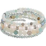 Beaded Freshwater Pearl Chakra Bracelet - Multi Strand Wrap Bracelet with Natural Crystal Agate Beads, Birthday Gifts for Wom