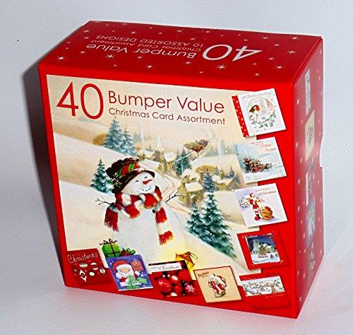 Bumper Assortiment de 40 cartes de Noël traditionnelles pour adulte Motif mignon enfant