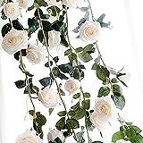 Sungpunet Dekorative Kunstrose, für Zuhause, Wand, Garten, Hochzeit, Party, Deko, 183 cm, handgefertigt, künstliche Rosenranken, Weiß